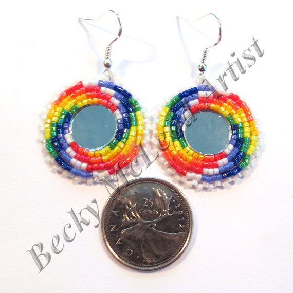 First nations beaded earrings rainbow with round mirror canada for Round mirror canada