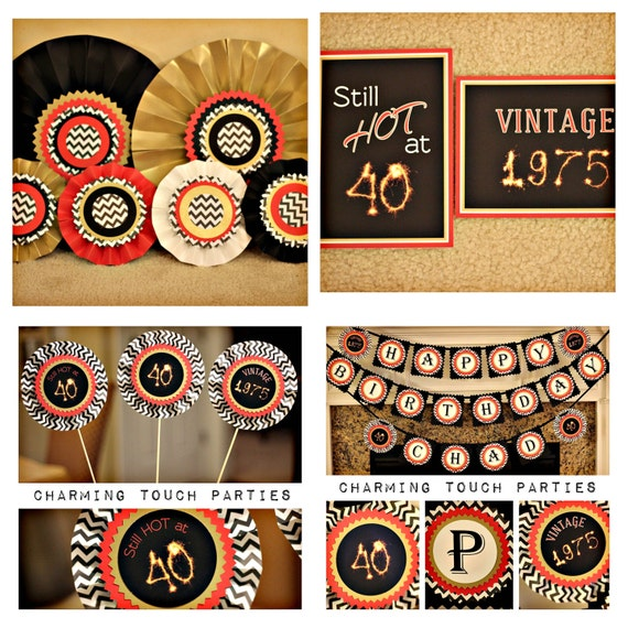 40th Birthday party decor 4 piece black red and gold party