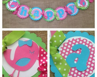 Bird Birthday Banner, Little Bird Party Banner, Little Birdie Birthday Banner, Little Birdie Party Banner, Bird Birthday Decorations