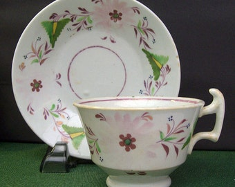 Antique Early Pink Lustreware – Lusterware Handled Cup and Saucer – Floral Design – Hand Painted - 19th Century -