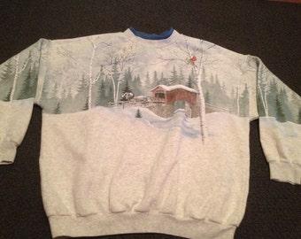 Rare Vintage Mens All Over Print Outdoors Winter Scene Snow Birds Tacky Crewneck Sweatshirt Size XL