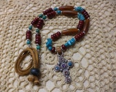 Southwest Style, Adjustable Necklace with Sterling Silver Multi Gemstone Cross Pendant