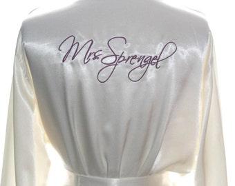 Ivory Satin Personalized Bride Robe