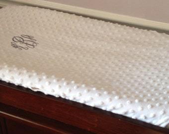 Super Soft Minky Dot Monogrammed Changing Pad Cover