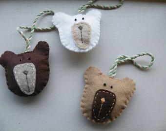 Bear Trio Christmas Ornaments, wool felt, hand-stitched