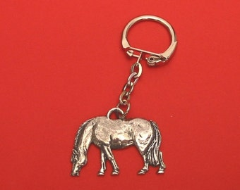 Grazing Pony Pewter Motif Key Ring Father Mother Pony Horse Gift