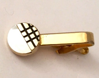 Gold Tone Modern Mother of Pearl Tie Bar Tie Tack, Art Deco Style Mod Circle