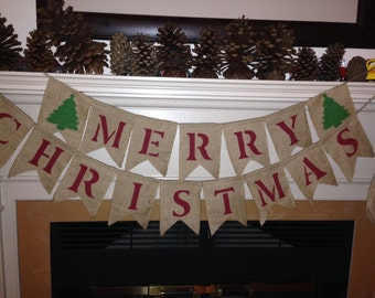 Merry Christmas Burlap Banner - Holiday Photo Props - Christmas Banner - Christmas Home Decor