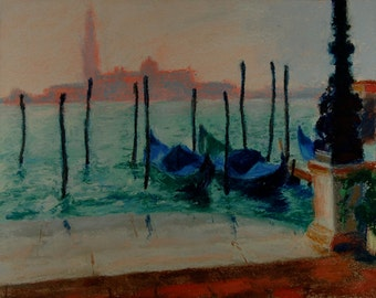 Original Pastel Painting, Venice, Italian Landscape by Robert Lafond