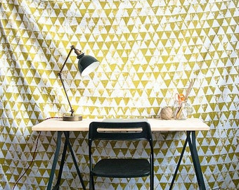 Hand Painted Gold Tapestry or Photobooth Backdrop using Upcycled Sheet