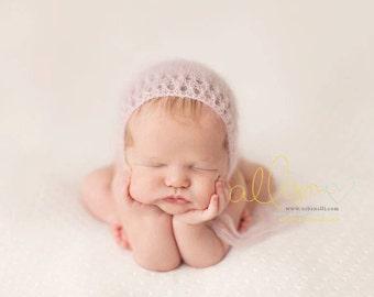 Newborn Bonnet Pattern, Mohair Bonnet Pattern, Knit Bonnet, Dahlia