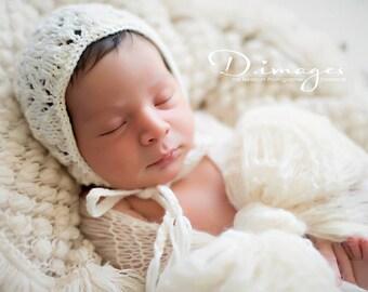 Lace Bonnet Pattern, Knit Bonnet Pattern, Newborn Size, Irene