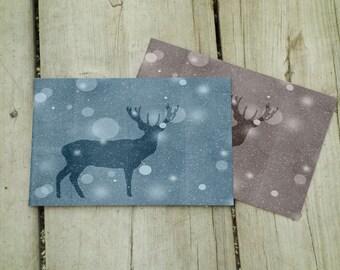 Buck Print 4 x 6, 5 x 7, Buck Art, Winterland, Buck Decor, Winter Print, Woodland, Rustic Decor, Winter Decor, Metallic Print, Snowy