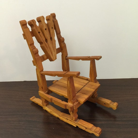 Vintage ~ Handmade ~ Wood Rocking Chair ~ Doll house ~ Collectible ...