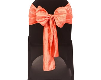 Coral Crinkle Taffeta Chair Sashes (Pack of 10) | Wedding Chair Sashes