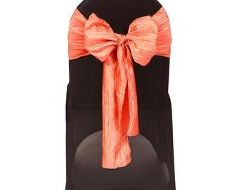 Coral Crinkle Taffeta Chair Sash | Wedding Chair Sashes