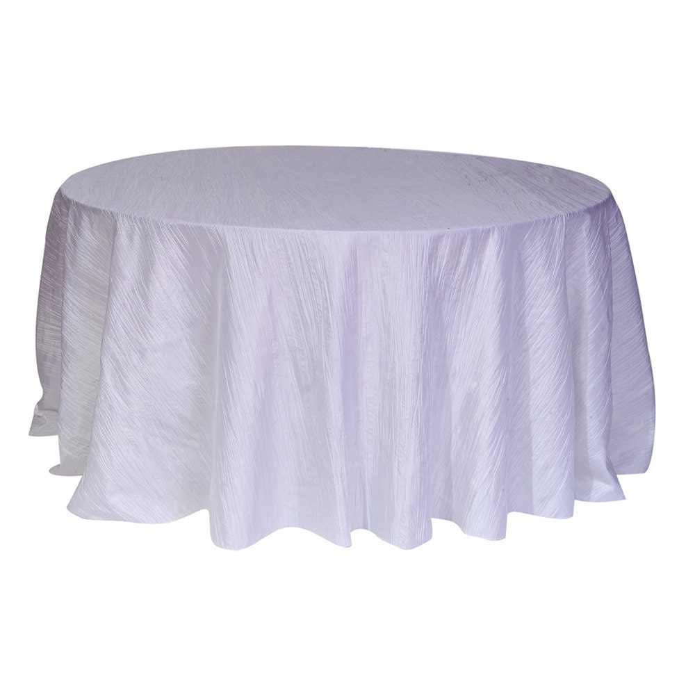 120 inch white crinkle taffeta round tablecloth wedding for 120 table cloth