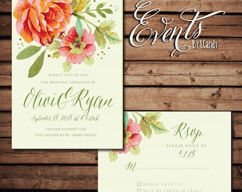 PRINTED Wedding Invitation - Coral watercolor floral invitation and rsvp