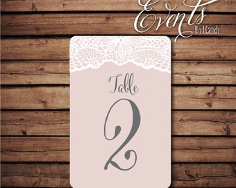 Table Numbers - blush and lace