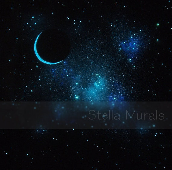Glow In The Dark Star Ceiling Poster Crescent Moon And