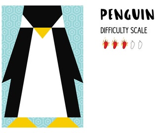 Penguin paper pieced quilt pattern in PDF