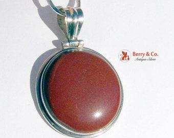 Round Pendant Reddish Brown Jasper Sterling Silver