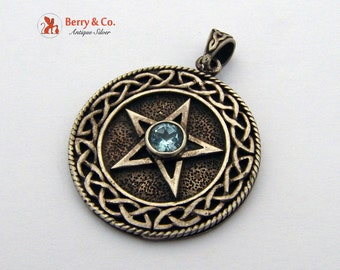 Star in a Circle Pendant Sterling Silver