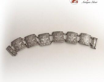 Vintage Aztec Style Bracelet Sterling Silver