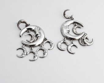 Vintage Crescent Moon Dangle Earrings Sterling Silver