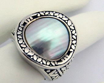 Mother of Pearl Ring Sterling Silver