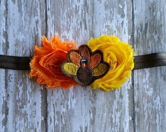 Thanksgiving headband-turkey headband Shabby Chic flower Headband-Baby-Infant-Toddler-Girl Gift-Elastic Headband-Photo Prop-Hair Accessories