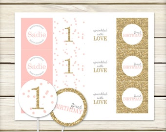 Pink and Gold Toppers // Polka Dot Party // Pink and Gold Party // Pink and Gold First Birthday // DIY Printables