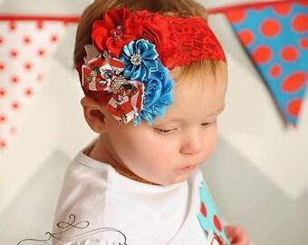 Cat in the Hat Headband/Holiday Shabby Headband/Toddler Headband/Girl Headband/Newborn Headband/Baby Headband/Dr Seuss Headband