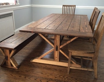 Kent Dining Table  Trestle X  Farmhouse  Reclaimed Wood  Custom  HandcraftedWashington Round Dining Table Reclaimed Wood Custom. Farmhouse Dining Table Made In Usa. Home Design Ideas