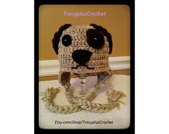 Crochet Puppy beanie with braids. Puppy hat. Newborn to adult sizes. Handmade to order. Photo prop.