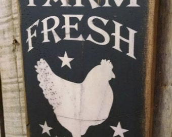 Farm Fresh Eggs, Antiqued, Wooden Sign