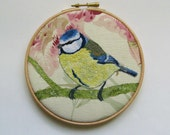 Blue tit embroidery, bird embroidery, embroidery hoop textile art, cottage chic, home decor.