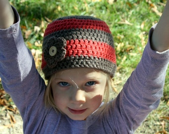 Striped Beanie with Interchangeable Flower