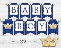 Instant Download Royal Blue Prince Baby Shower Banner, Glitter Bunting Banner, Printable Crown Royal Blue Prince Birthday Pendent Banner 66C