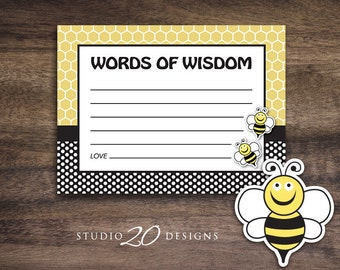 Instant Download Bee Advice Cards, Bee Theme Baby Shower Games, Gender Neutral Bee Words of Wisdom, Printable Advice Cards #36A