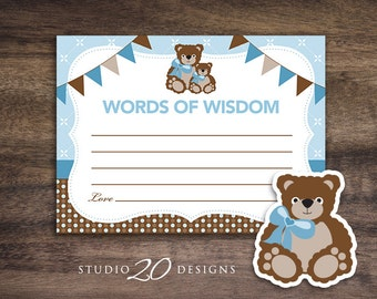 Instant Download Blue Teddy Bear Advice Cards, Baby Shower Games for Boy, Blue Teddy Words of Wisdom, Printable Advice Cards 42A