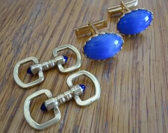 Set of Two Blue Stone Cufflinks