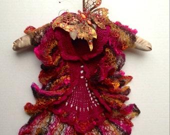 Hand knitted raspberry multicolored ruffled bolero/ cardigan girl 1-3 years old