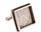 Antique Silver Square Cuff Link Bezel by Nunn Design  – 2 pieces (clts-sb)
