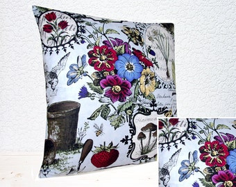 "Handmade Botanical Flora and Fauna Drawings Blue Collection Pillow Cushion Cover 16""x16"" (indoor)"