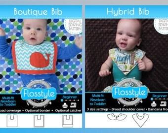 HYBRID + BOUTIQUE BIB + 40 Applique Designs Pdf Sewing Pattern - Best Bandana Dribble Bib Hybrid + Boutique Big bib with optional Pocket!