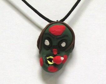 OOAK Handmade Zombie Walking Dead Pendant Necklace 01