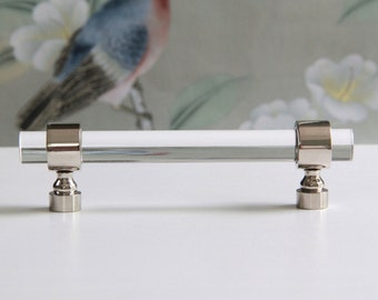 "1/2"" Dia. Polished Nickel or Chrome Drawer Pull - Lucite Cabinet Handle"