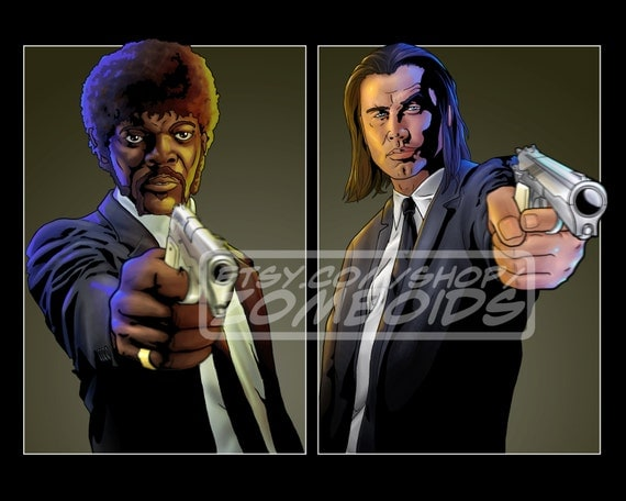 Pulp Fiction Jules and Vincent (Sam Jackson and John Travolta) Print poster Choose Size and Frame