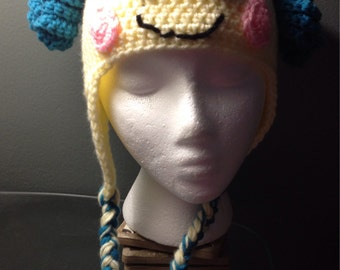Crochet Lalaloopsie Hat with Ear Flaps **Infant-Adult Size**